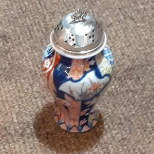 "Large 6"" Asian Sugar Shaker With Sterling Silver Top Birmingham 1903"
