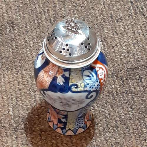 """Large 6"""" Asian Sugar Shaker With Sterling Silver Top Birmingham 1903 image-2"""