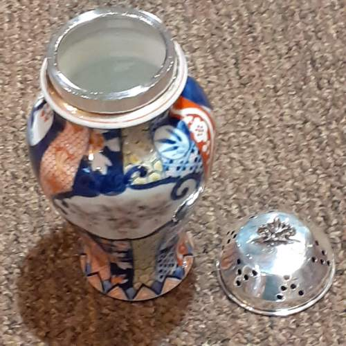 """Large 6"""" Asian Sugar Shaker With Sterling Silver Top Birmingham 1903 image-4"""