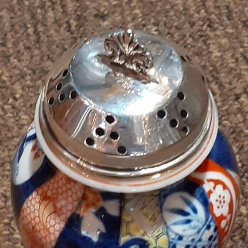 """Large 6"""" Asian Sugar Shaker With Sterling Silver Top Birmingham 1903 image-6"""