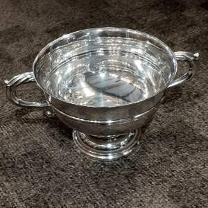 Large Heavy 24oz Antique Solid Silver Bowl With Signatures
