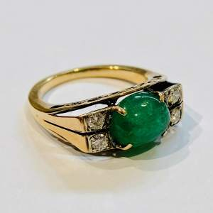 Art Deco 18ct Gold Emerald and Diamond Ring