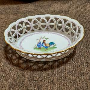 Rare Antique Herend Porcelain Hand Painted Open Weave Basket