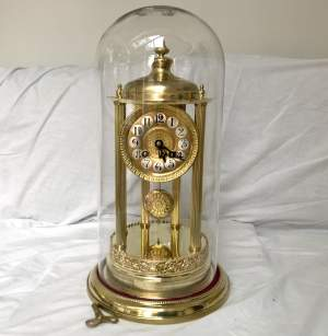 Large 8-Day Bandstand Clock Striking On A Bell Under Glass Dome