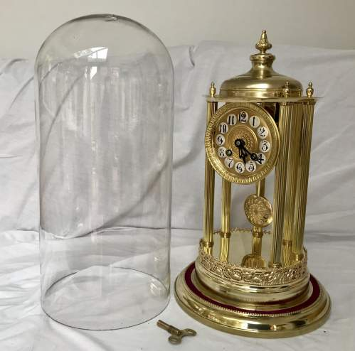 Large 8-Day Bandstand Clock Striking On A Bell Under Glass Dome image-2