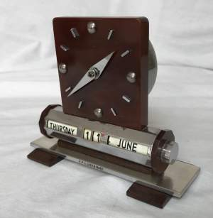 1930's RMS Queen Mary Art Deco 8 Day Timepiece In Phenolic Resin