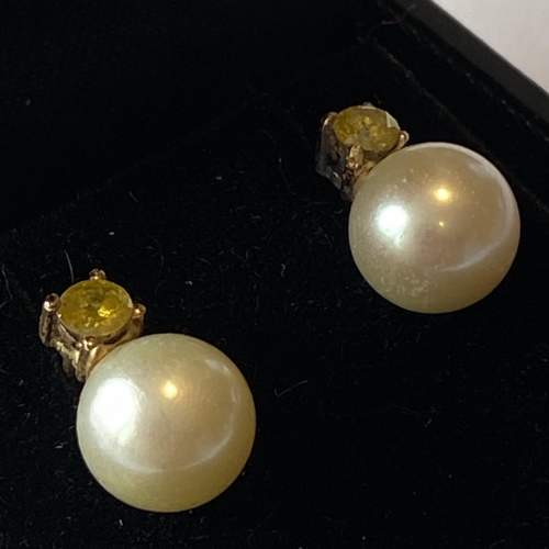 18ct Gold Yellow Diamonds and Cultured Pearl Earrings image-2
