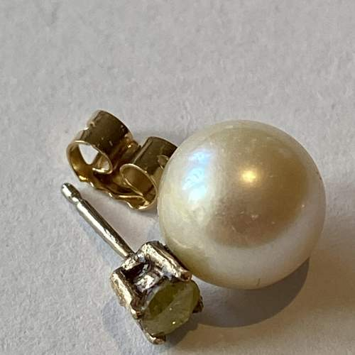 18ct Gold Yellow Diamonds and Cultured Pearl Earrings image-4