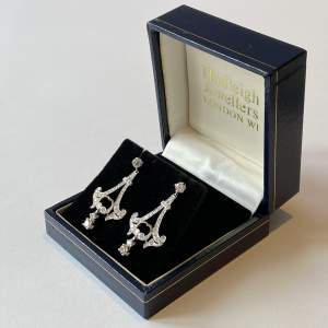 Quality Pair of 18ct White Gold and Diamond Earrings