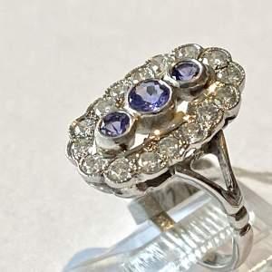 14ct White Gold Tanzanite and Diamond Ring