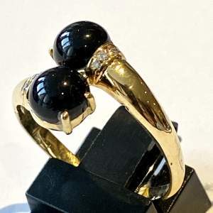 18ct French Hallmarked Gold Onyx and Diamond Ring