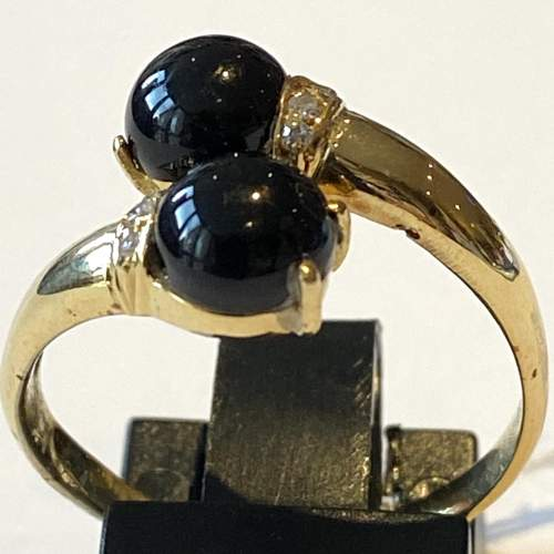 18ct French Hallmarked Gold Onyx and Diamond Ring image-2