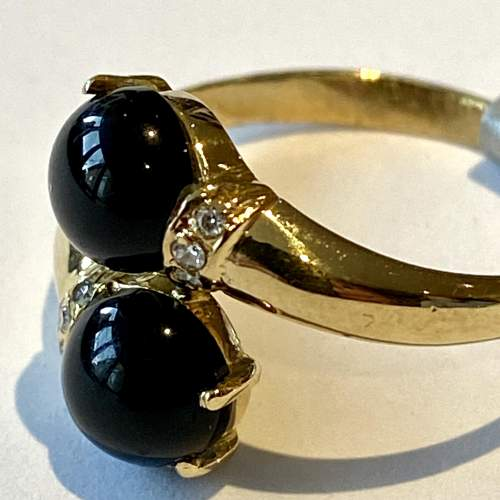 18ct French Hallmarked Gold Onyx and Diamond Ring image-3