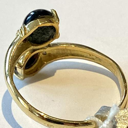 18ct French Hallmarked Gold Onyx and Diamond Ring image-4