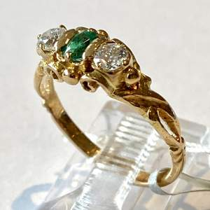 Georgian style Gold Emerald and Diamond Ring