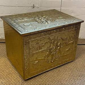 Vintage Large Brass Cased Log Box