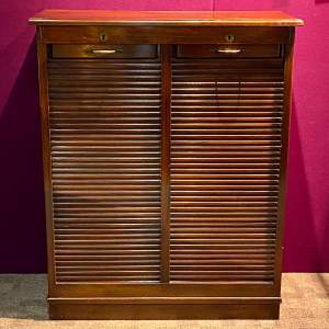 Early 20th Century Mahogany Double Tambour Filing Cabinet