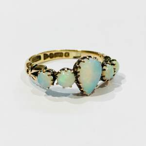 Early 20th Century 9ct Gold Five Stone Opal Ring