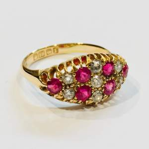 Victorian 18ct Gold Ruby and Diamond Boat Shaped Ring