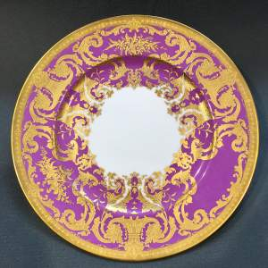 20th Century De Lamerie Gilt over Magenta Dinner Plate
