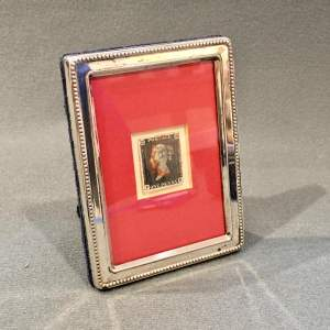 19th Century Penny Black Stamp in Solid Silver Frame