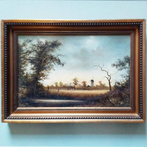 Oil Painting Haymaking Scene by D Hewitt image-1