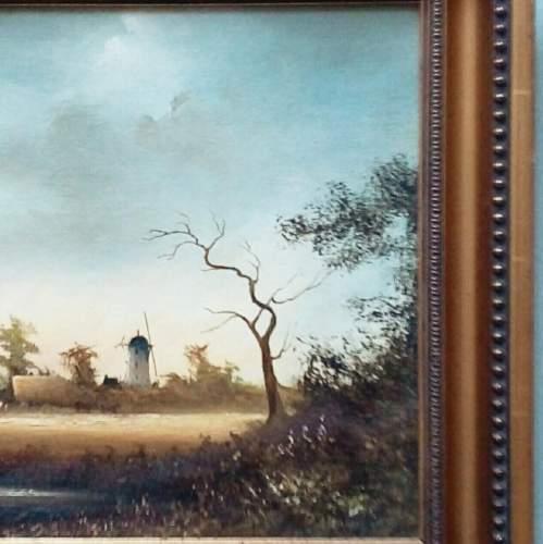 Oil Painting Haymaking Scene by D Hewitt image-3