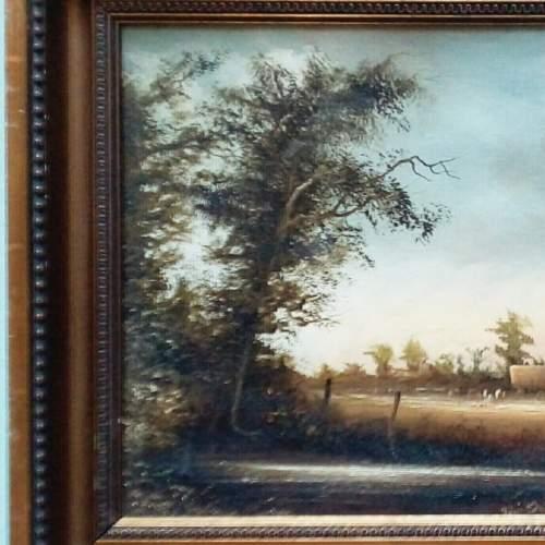 Oil Painting Haymaking Scene by D Hewitt image-2