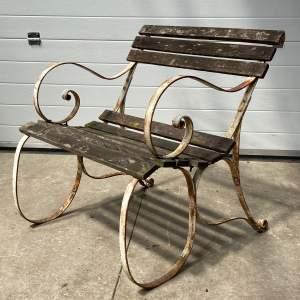Vintage Mid 20th Century Wrought Iron Framed Garden Seat