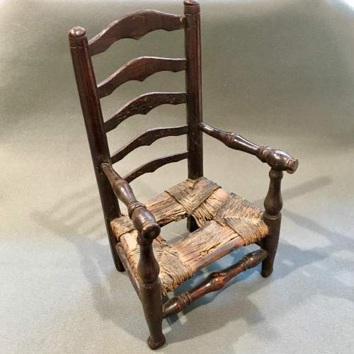 Unusual Early 19th Century Rush Seated Ladder Back Toy Chair image-1