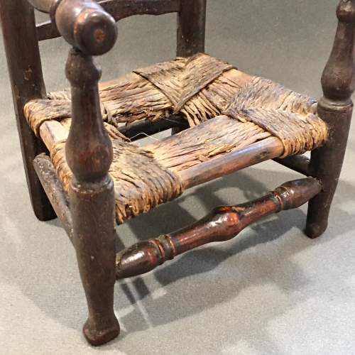 Unusual Early 19th Century Rush Seated Ladder Back Toy Chair image-2