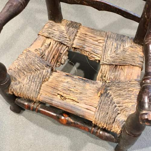 Unusual Early 19th Century Rush Seated Ladder Back Toy Chair image-3