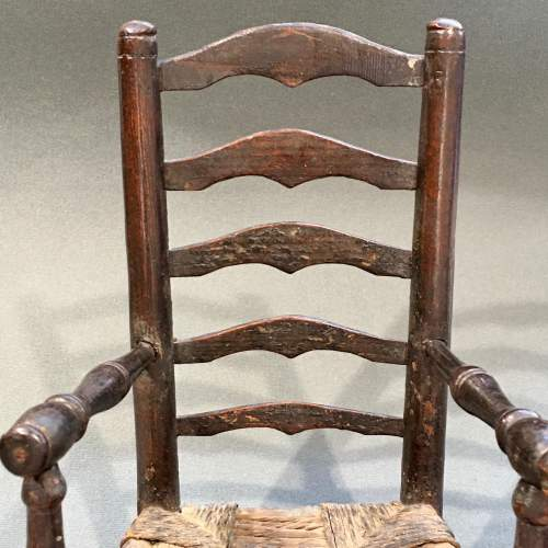 Unusual Early 19th Century Rush Seated Ladder Back Toy Chair image-4