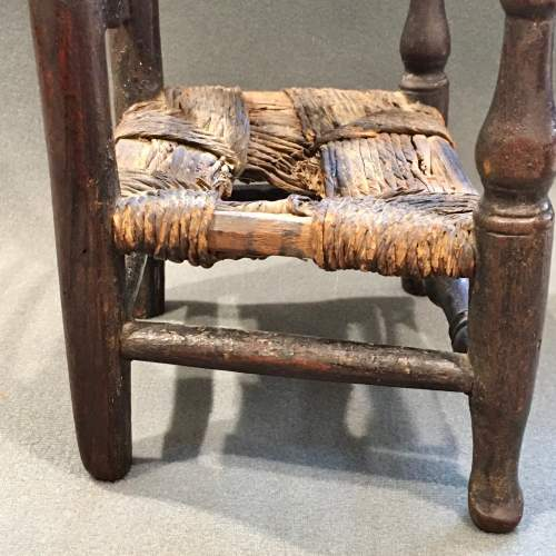 Unusual Early 19th Century Rush Seated Ladder Back Toy Chair image-5