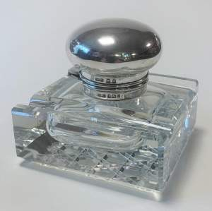Silver Top Glass Inkwell