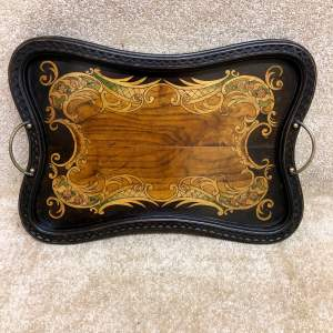 Antique Kidney Shaped Tray With Central Floral Decoration