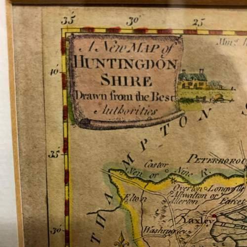 Antique Framed And Glazed Map Of Huntingdon image-2