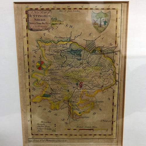 Antique Framed And Glazed Map Of Huntingdon image-1