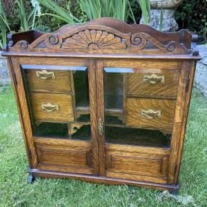 Edwardian Oak Smokers Cabinet