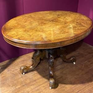 Good Quality Burr Walnut Oval Dining Table
