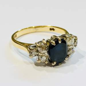 Art Deco 18ct Yellow and White Gold Sapphire and Diamond Ring