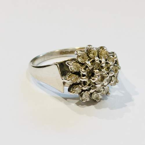 Mid 20th Century 18ct White Gold Diamond Cluster Dress Ring image-1