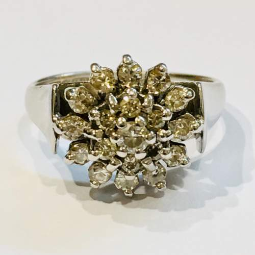 Mid 20th Century 18ct White Gold Diamond Cluster Dress Ring image-2