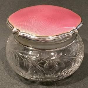 Early 20th Century Pink Guilloche Enamel Lidded Pot