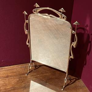 Arts and Crafts Brass Framed Fire Screen