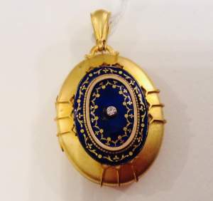 Antique 18ct Gold Diamond and Enamel Locket
