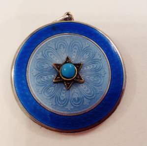 Antique Silver Turquoise and Enamel Locket
