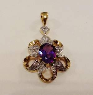 9ct Gold Diamond and Amethyst Pendant
