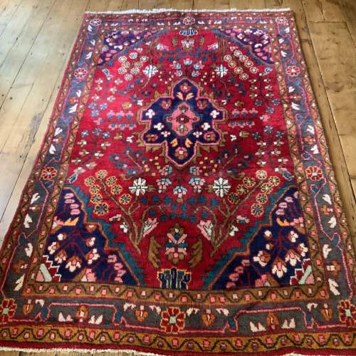 Beautiful Old Hand Knotted Persian Rug Hamadan Floral Medallion image-1