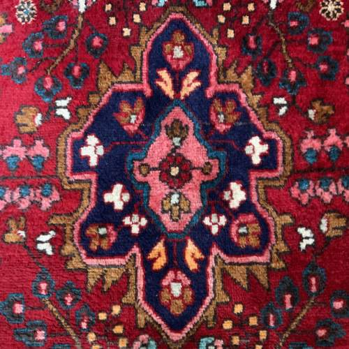 Beautiful Old Hand Knotted Persian Rug Hamadan Floral Medallion image-4